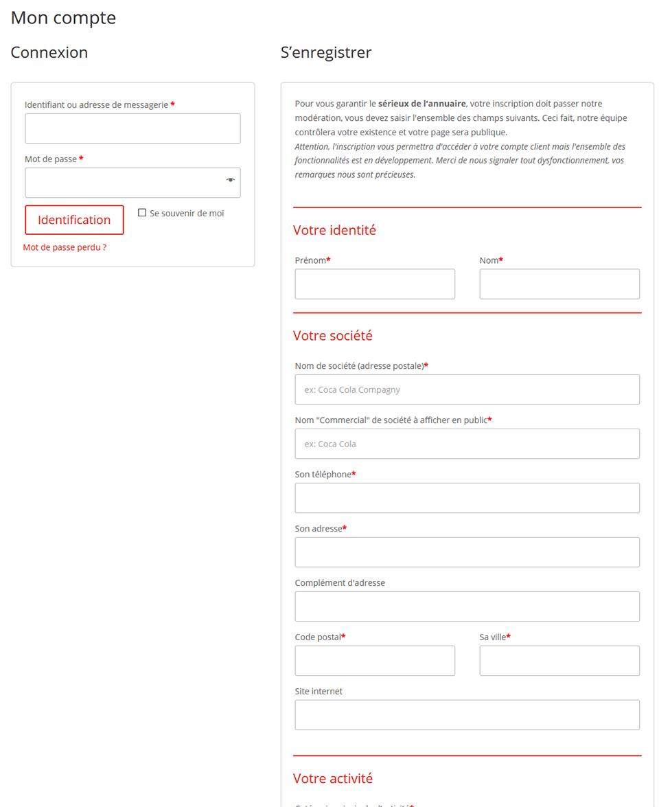 Comment s'inscrire - Formulaire